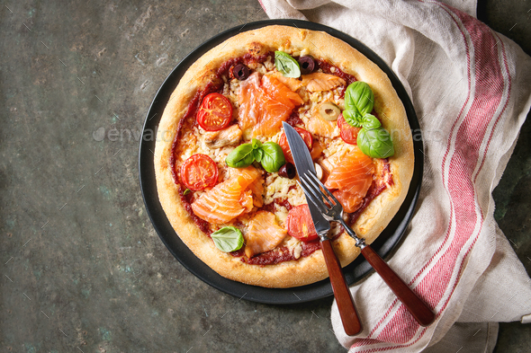 Pizza with sa - Stock Photo - Images