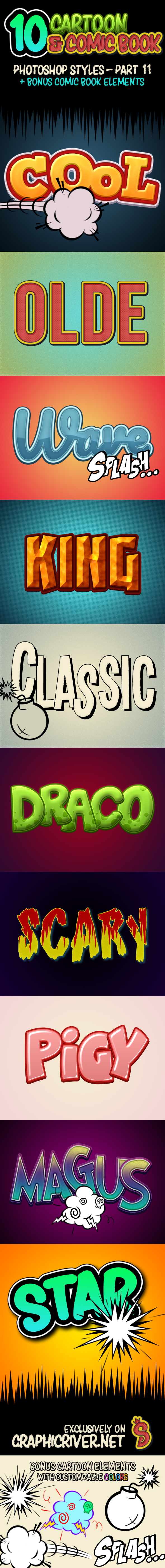 Cartoon and Comic Book Styles - Part 11 - Text Effects Styles