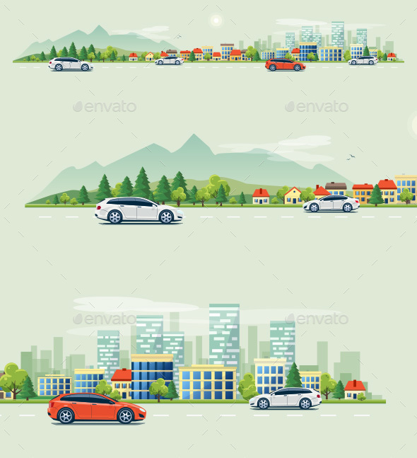 Urban Landscape Street Road with Cars and Mountain City Skyline Background - Buildings Objects