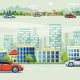 Urban Landscape Street Road with Cars and Mountain City Skyline Background - GraphicRiver Item for Sale