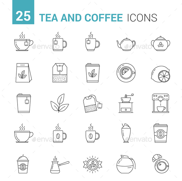 Tea and Coffee Icons - Food Objects