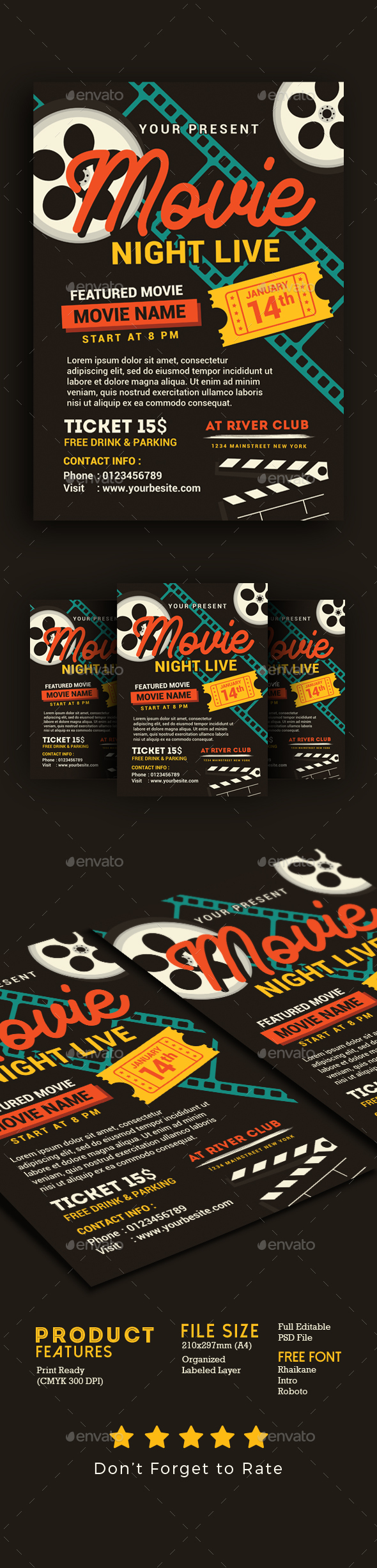 Movie Night/Movie Time Flyer - Events Flyers