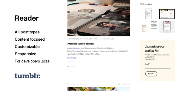 Reader | Responsive Blogging Tumblr Theme