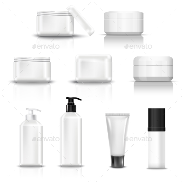 Empty and Clean White Plastic Containers - Health/Medicine Conceptual