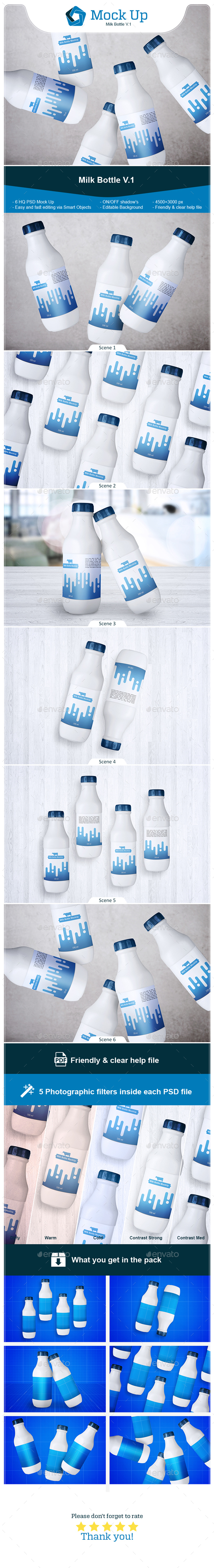 Milk Bottle V.1 - Food and Drink Packaging