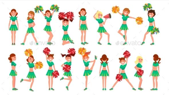 High-School Profession Cheerleading Teams Vector - People Characters