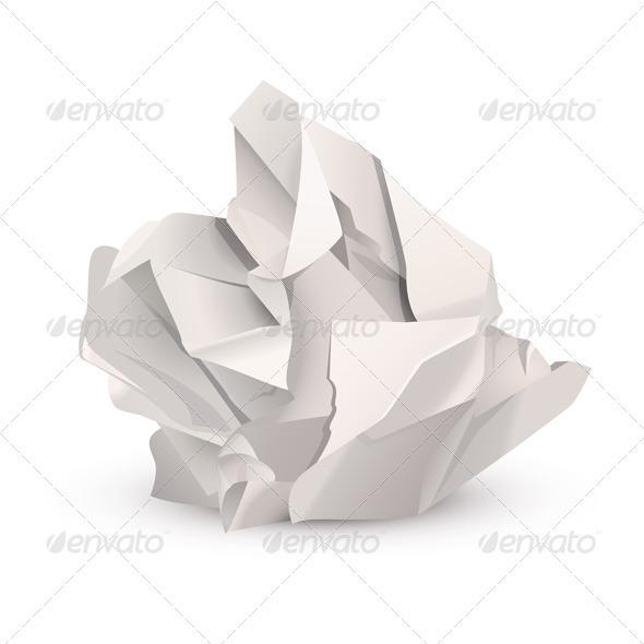 Crumpled paper ball - Objects Vectors