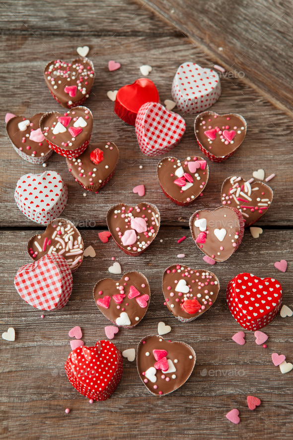 Heart chocolates - Stock Photo - Images