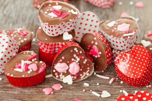 Heart chocolates - Stock Photo - Images
