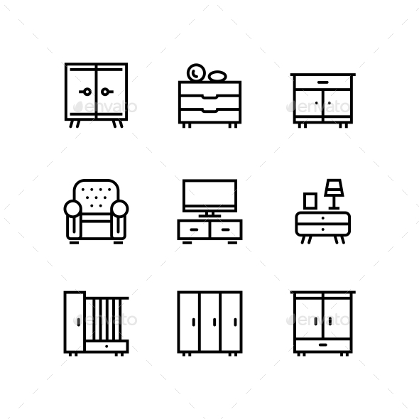 Furniture, Decor, Interior Vector Simple Icons for Web and Mobile Design Pack 1 - Icons