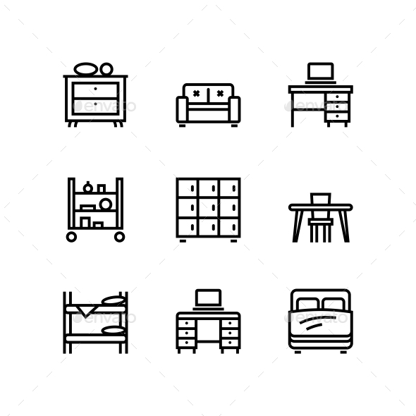 Furniture, Decor, Interior Vector Simple Icons for Web and Mobile Design Pack 2 - Icons