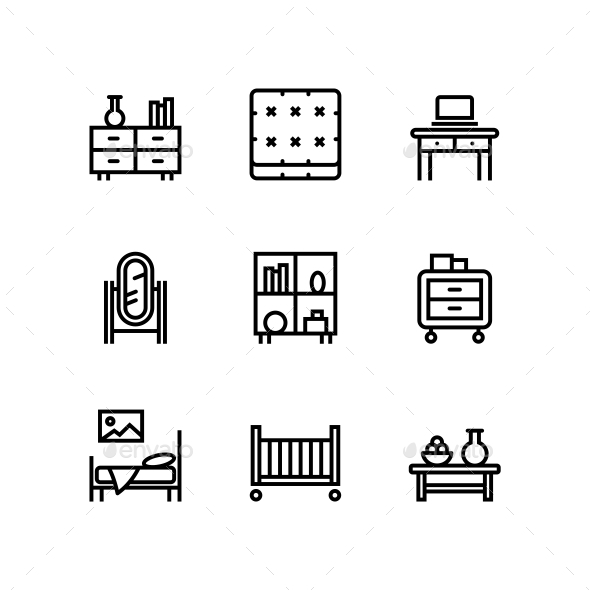 Furniture, Decor, Interior Vector Simple Icons for Web and Mobile Design Pack 3 - Icons