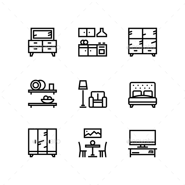 Furniture, Decor, Interior Vector Simple Icons for Web and Mobile Design Pack 4 - Icons