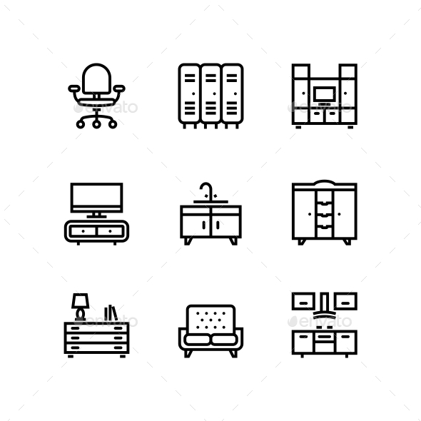 Furniture, Decor, Interior Vector Simple Icons for Web and Mobile Design Pack 5 - Icons