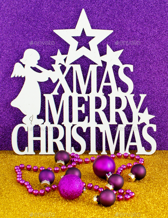 Christmas sign with Golden and purple background - Stock Photo - Images
