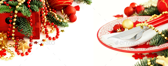 Red and golden festive table setting - Stock Photo - Images