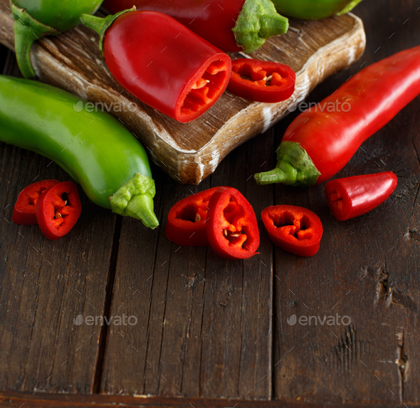 Red and green sweet peppers - Stock Photo - Images