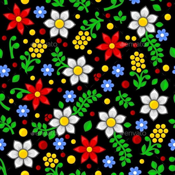 Seamless Floral Pattern on Black Background - Flowers & Plants Nature