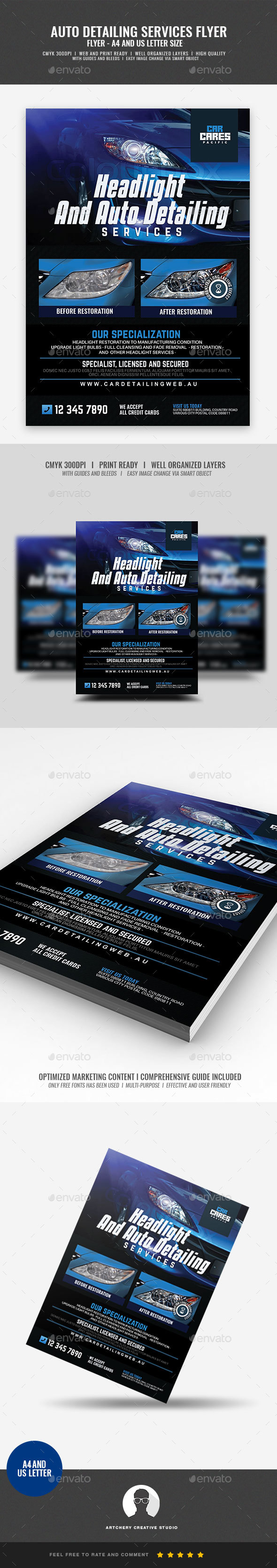 Headlight Restoration and Auto Detailing Flyer - Corporate Flyers