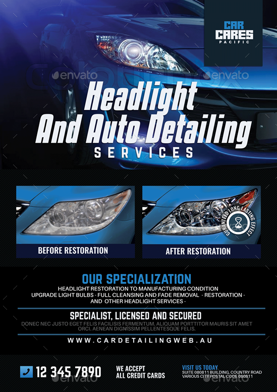 Headlight Restoration And Auto Detailing Flyer By Artchery