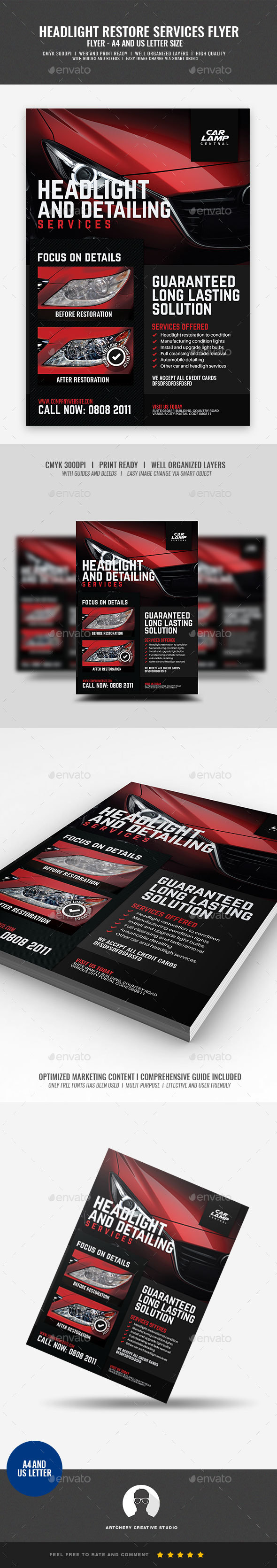 Headlight Restoration Promotional Flyer - Corporate Flyers