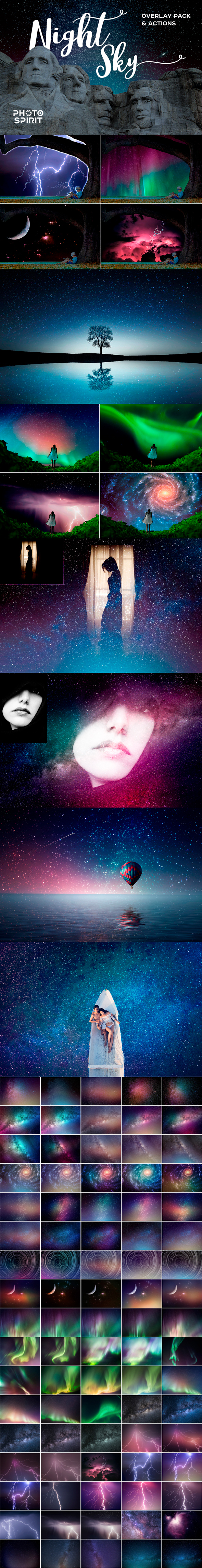 Night Sky Background Overlays - Photo Effects Actions