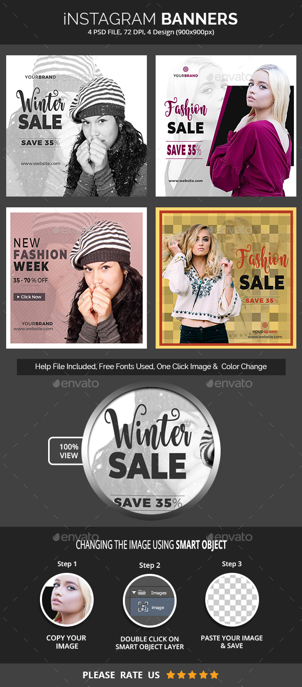 Fashion & Sale Instagram Banners - Social Media Web Elements