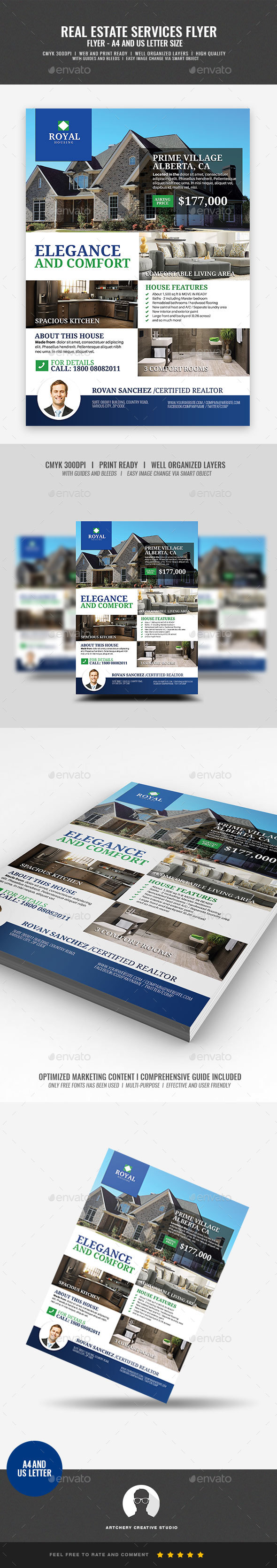 Simple Modern Real Estate Promotional Flyer - Corporate Flyers
