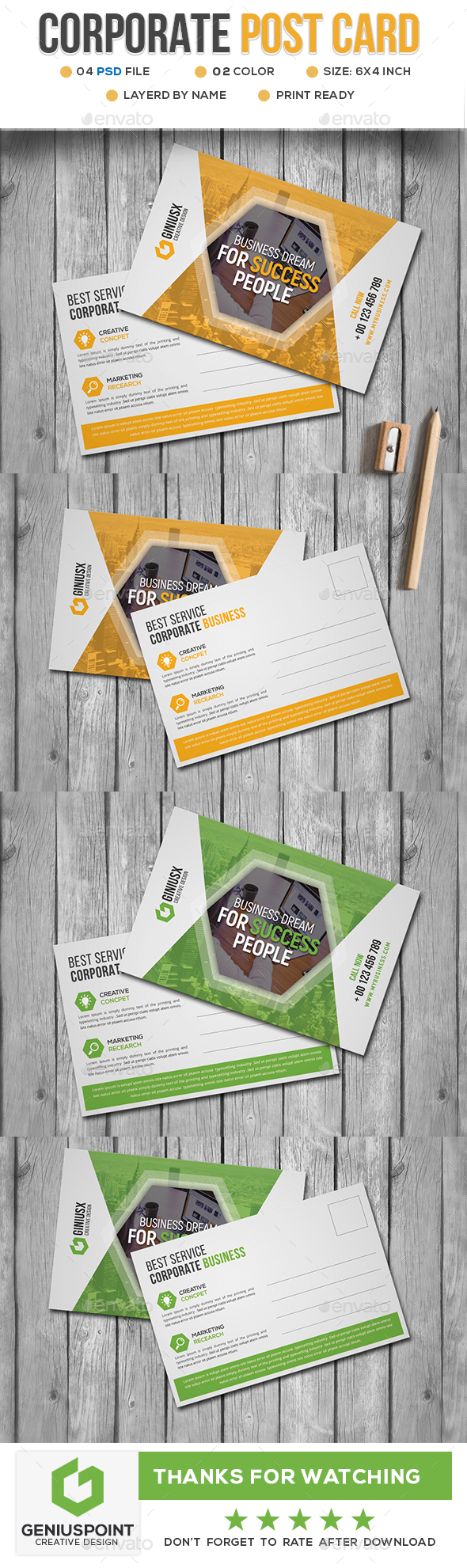 Corporate Post Card - Cards & Invites Print Templates
