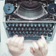 Writer typing with retro writing machine. - PhotoDune Item for Sale