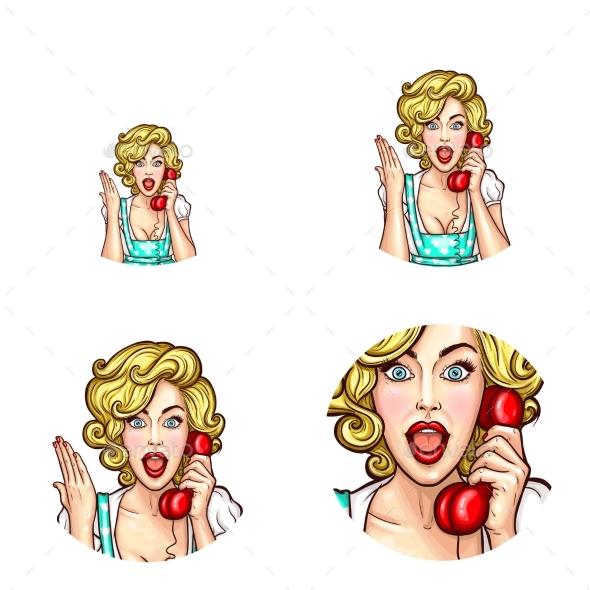 Pop Art Woman or Girl Speaking By Phone Receiver