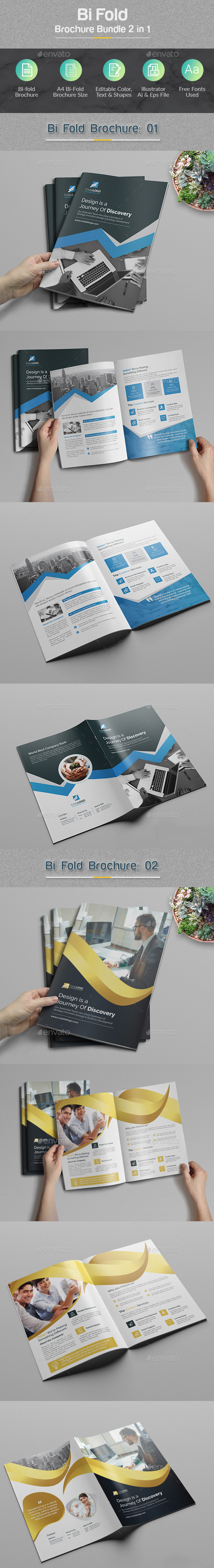 Bi-fold Brochure Bundle 2 in 1 - Corporate Brochures