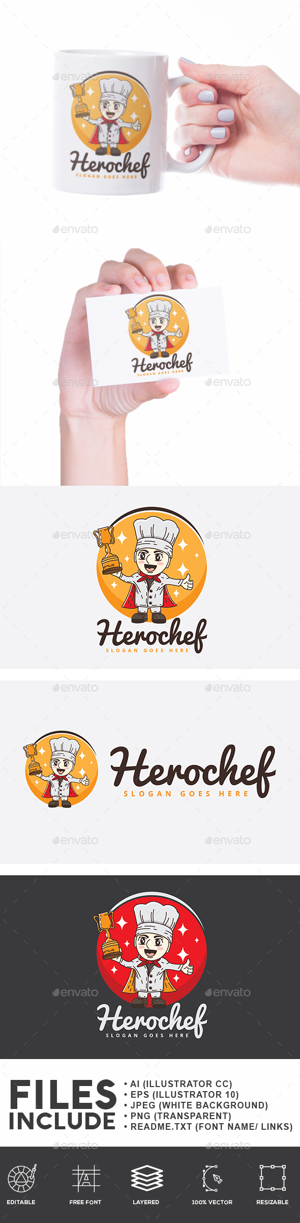 Hero Chef Logo - Humans Logo Templates