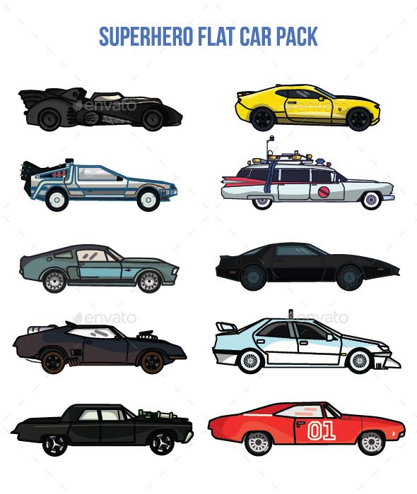 Superhero Flat Car Pack