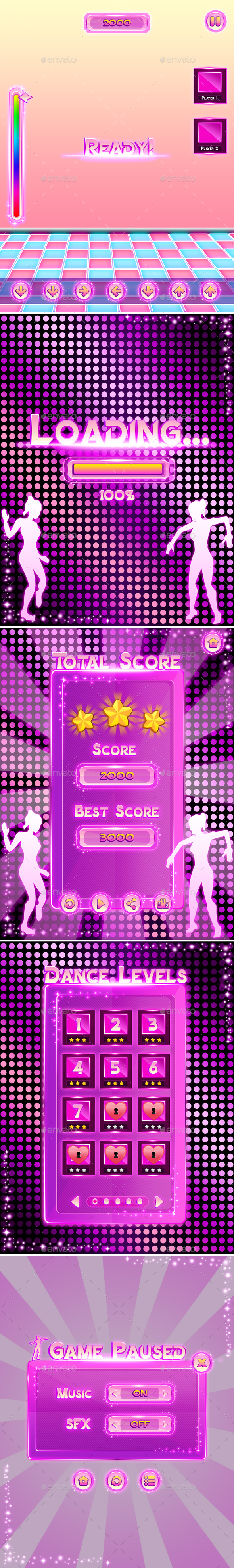 Pink Dance Game UI - User Interfaces Game Assets