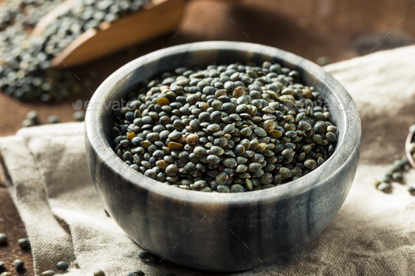 Dry Green Organic French Lentils - Stock Photo - Images