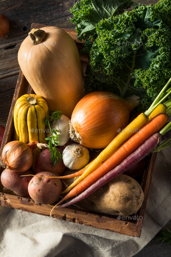 Raw Organic Winter Farmers Market Box - Stock Photo - Images