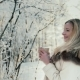 Attractive Woman Drinks Coffee Outdoors in Winter - VideoHive Item for Sale