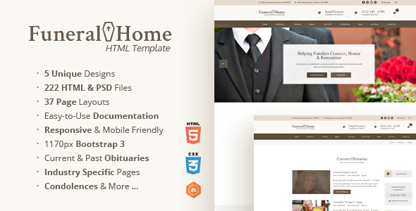 Funeral Home - Funeral Services & Church HTML Template