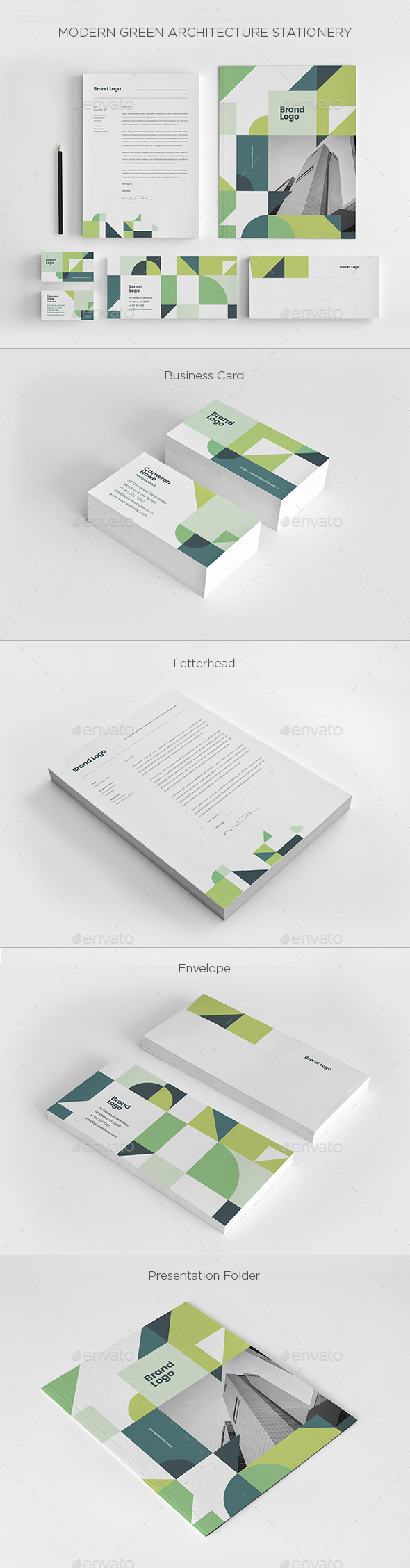 Modern Green Architecture Stationery - Stationery Print Templates