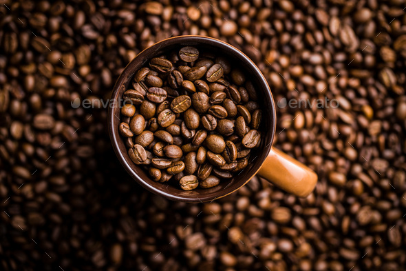 Roasted coffee beans. - Stock Photo - Images