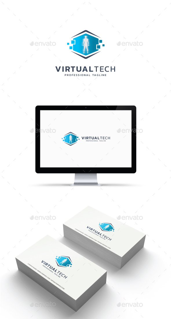 Virtual Tech Logo - Abstract Logo Templates