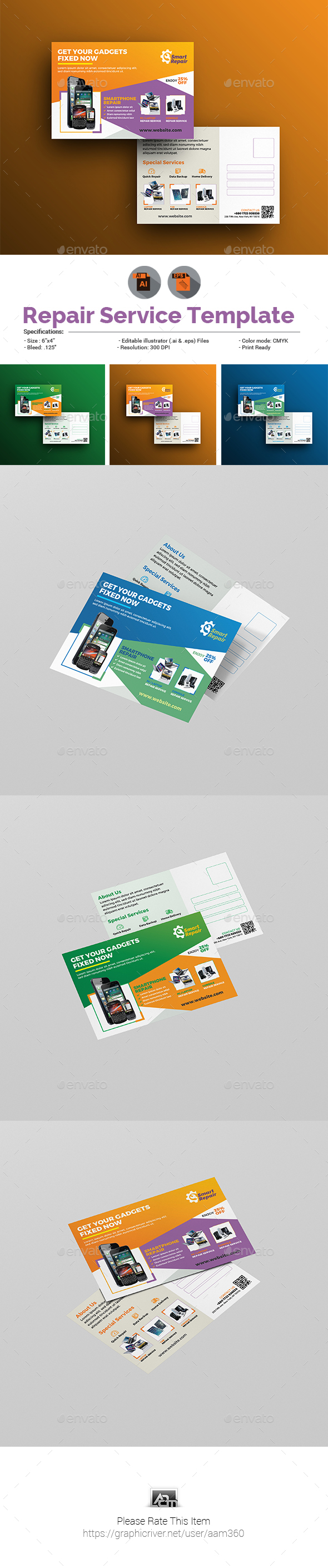 Repair Service Postcard Template - Cards & Invites Print Templates