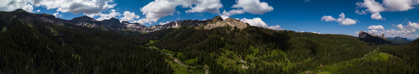 San Juan Mountains aerial panorama Colorado - Stock Photo - Images