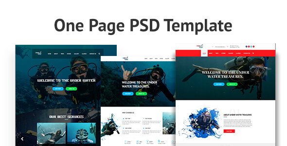 ThemeForest Under Water One Page PSD Template 21095418