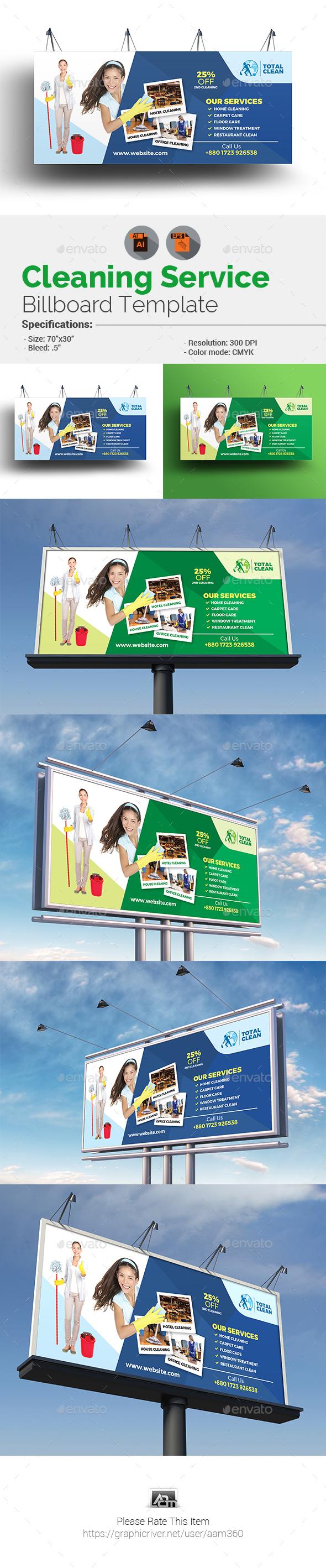Clean Service Billboard - Signage Print Templates