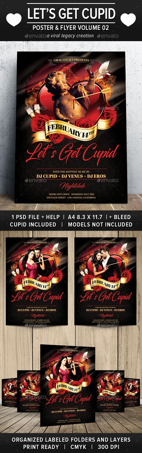 Valentine Let's Get Cupid Poster / Flyer V02 - Flyers Print Templates
