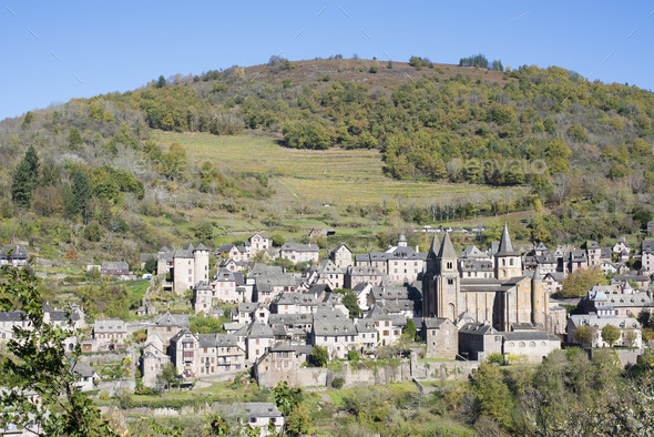 view of Conques - Stock Photo - Images