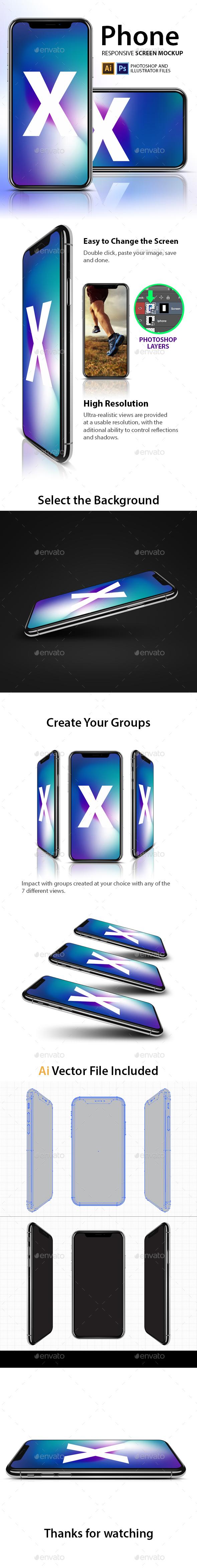 Responsive Screen Mockup Pack - Mobile Displays