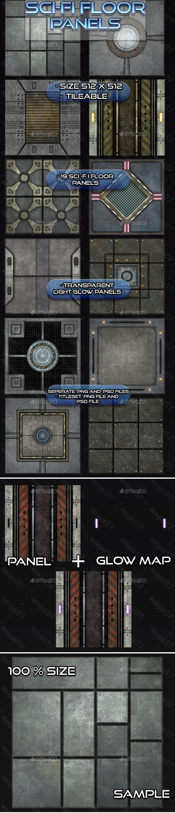 Sci-Fi Floor Panel Tileset - Tilesets Game Assets